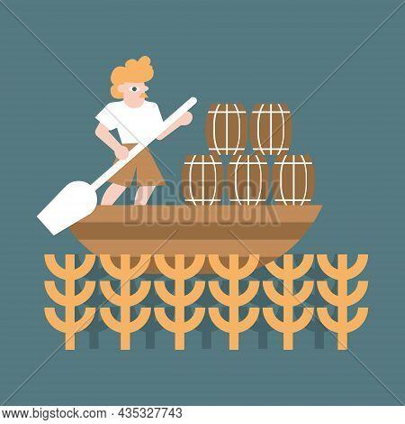 Vector Illustration Of A Man Transports Cargo On A Boat. Barley Field. Craft Beer Label Design. Oak