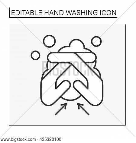 Regulations Line Icon. Rules Of Correct Hand Washing.washing Between Fingers. Hygiena Concept. Isola
