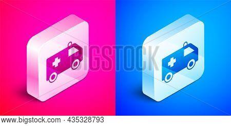 Isometric Ambulance And Emergency Car Icon Isolated On Pink And Blue Background. Ambulance Vehicle M