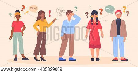 Confused People Concept. Ollection Of Characters Who Ask Various Questions And Search For Answers. U