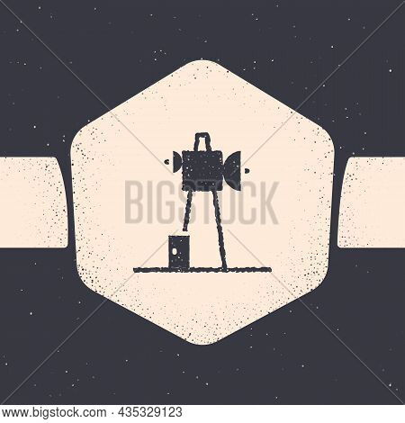 Grunge Antenna Icon Isolated On Grey Background. Radio Antenna Wireless. Technology And Network Sign
