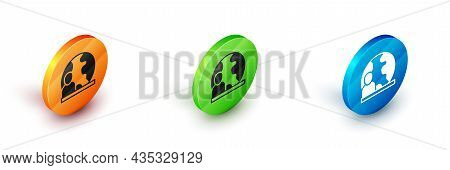 Isometric World News Icon Isolated On White Background. Breaking News, World News Tv. Circle Button.