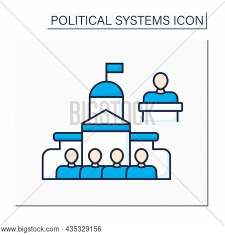 Parliament Color Icon. Legislative Body Of Government. Elected Politicians Make Laws For Country.pol