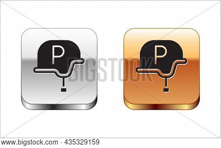 Black War Journalist Correspondent Icon Isolated On White Background. Live News. Silver And Gold Squ