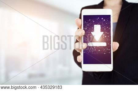 Software Update Installation Upgrade Data Concept. Hand Hold White Smartphone With Digital Hologram