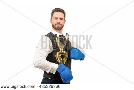 Boss Show Victory And Authority. Businessman In Boxing Gloves With Trophy.