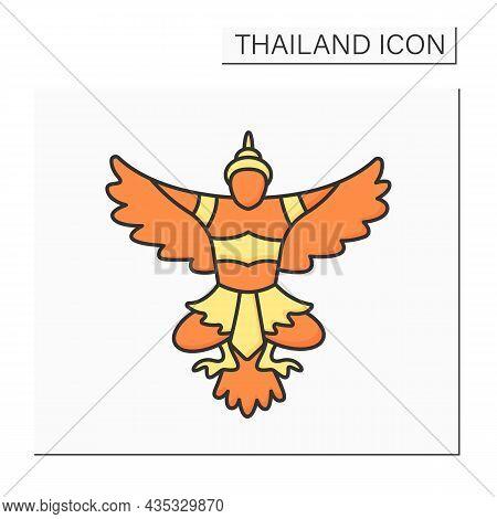 National Emblem Color Icon. Phra Khrut Pha. Garuda. Royalty Family Symbol. Buddhist And Hindu Mythol