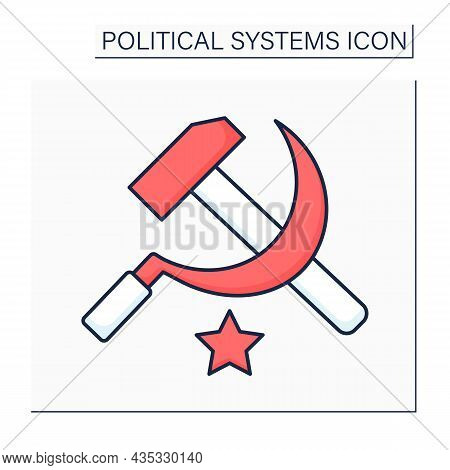 Communism Color Icon. Philosophical, Social, Political, And Economic Ideology. Society Ideas Of Univ