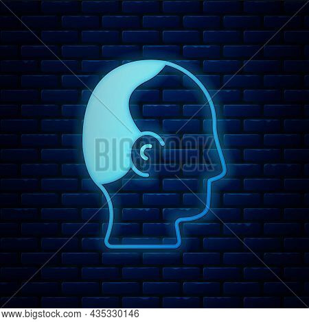Glowing Neon Baldness Icon Isolated On Brick Wall Background. Alopecia. Vector