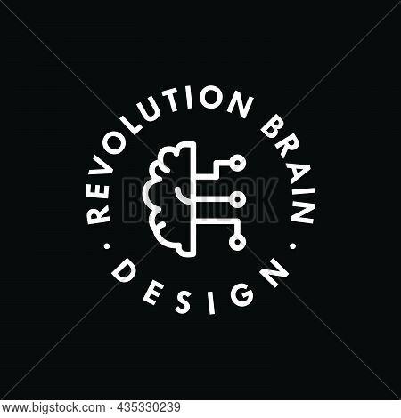 Revolution Brain Logo Design Template Vector For Brand Business And Identity.