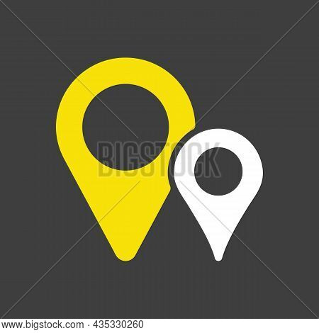 Two Pin Map Glyph Icon On Dark Background. Map Pointer. Map Markers. Gps Location Symbol. Navigation