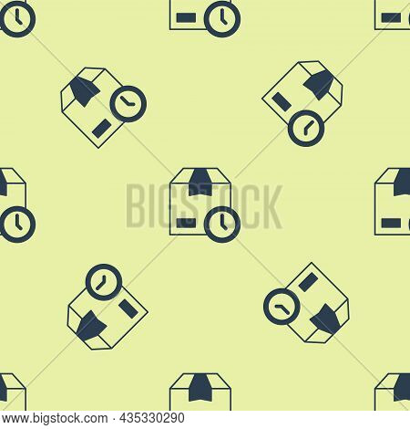 Blue Carton Cardboard Box And Fast Time Delivery Icon Isolated Seamless Pattern On Yellow Background