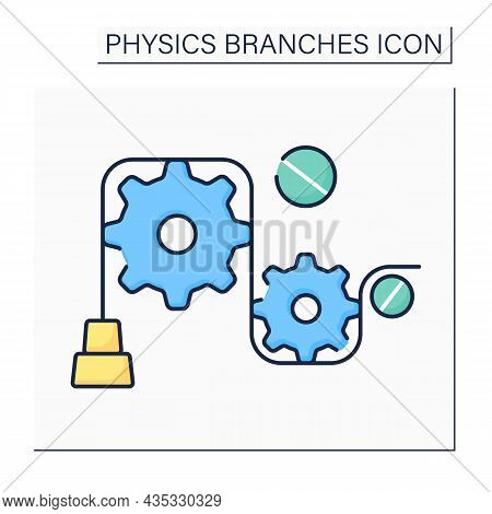 Mechanics Color Icon. Particles Motions, General System Of Particles.object And Properties In Form O