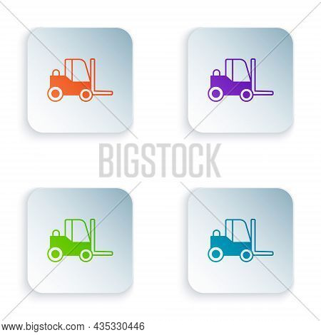 Color Forklift Truck Icon Isolated On White Background. Fork Loader And Cardboard Box. Cargo Deliver