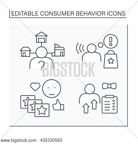 Consumer Behavior Line Icons Set. Personal Characteristic, Awareness, Extensive Decision-making, Rou