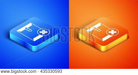 Isometric Delete Envelope Icon Isolated On Blue And Orange Background. Delete Or Error Letter. Cross