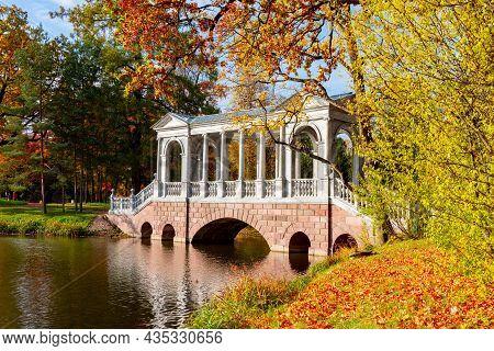 Marble Bridge In Autumn Foliage In Catherine Park, Pushkin (tsarskoe Selo), Saint Petersburg, Russia