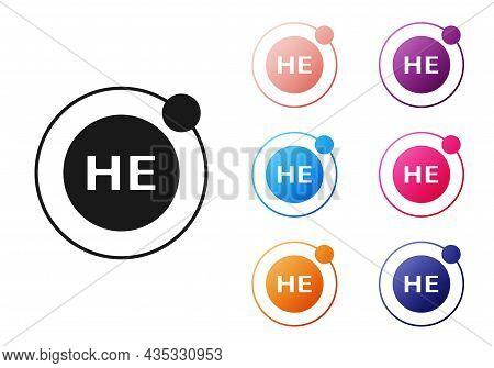 Black Helium Chemical Element Icon Isolated On White Background. Helium Periodic Table Element Chemi