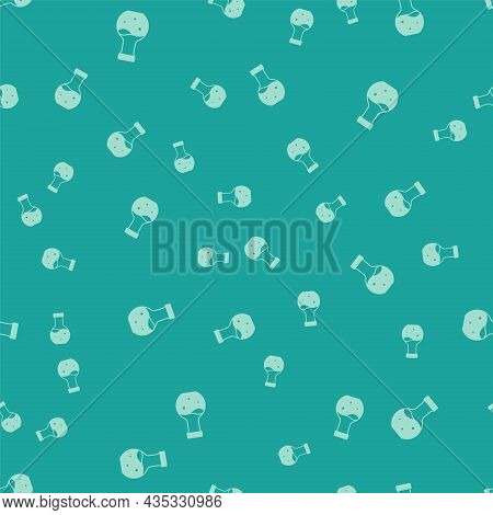 Green Test Tube And Flask Chemical Laboratory Test Icon Isolated Seamless Pattern On Green Backgroun