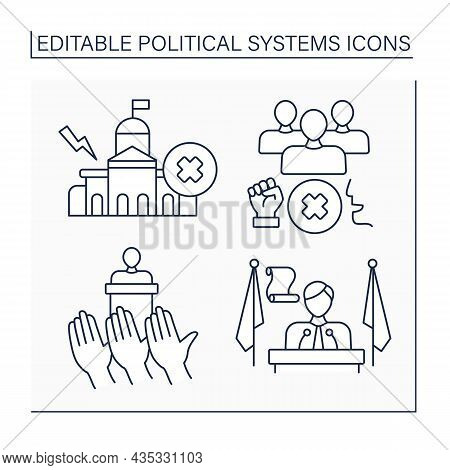 Political Systems Line Icons Set. Anarchy, Authoritarian Regime, Democracy, President. Sociology Con