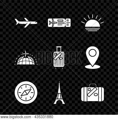 Set Plane, Airline Ticket, Sunset, Compass, Eiffel Tower, Suitcase For Travel And Stickers, Globe Wi