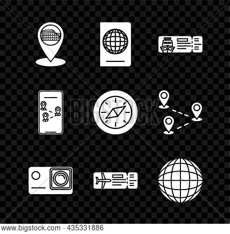Set Map Pointer With Coliseum In Rome, Cruise Ticket For Traveling By Ship, Action Extreme Camera, A