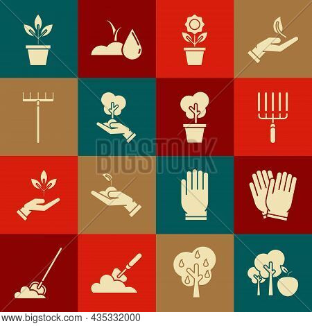 Set Tree With Apple, Garden Gloves, Rake In Work, Flower Pot, Hand Of Environmental Protection, Flow