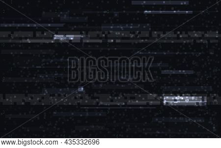 Glitch Digital Video. Distortion Horizontal Template. Random Lines On Black Backdrop. Static Effect