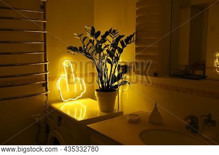 Yellow Neon Sign Fuck In Bathroom. Trendy Style. Neon Sign. Custom Neon.