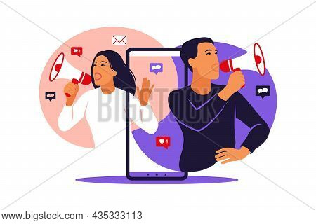 Woman And Man With Megaphone On Screen Mobile Phone And Young People Surrounding Her. Vector Illustr