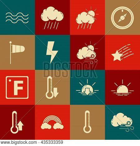 Set Windy Weather, Sunrise, Falling Star, Cloud With Rain And Sun, Lightning Bolt, Cone Meteorology