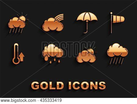 Set Cloud With Rain, Cone Meteorology Windsock Wind Vane, Sun And Cloud Weather, Thermometer, Classi