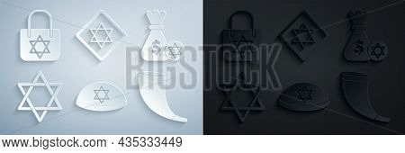 Set Jewish Kippah With Star Of David, Money Bag And Coin, Star David, Traditional Ram Horn, Shofar,