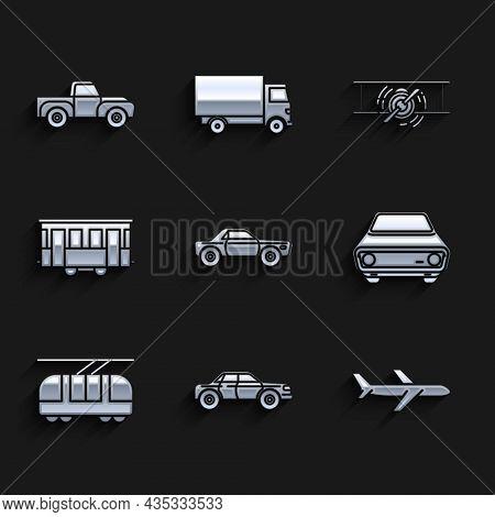 Set Sedan Car, Plane, Car, Tram And Railway, Old City Tram, Retro Vintage Plane And Pickup Truck Ico