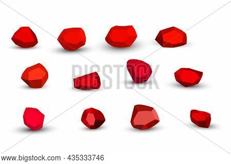 Cartoon Red Stones. Rock Stone Isometric Set. Colorful Boulders, Natural Building Block Shapes, Wall