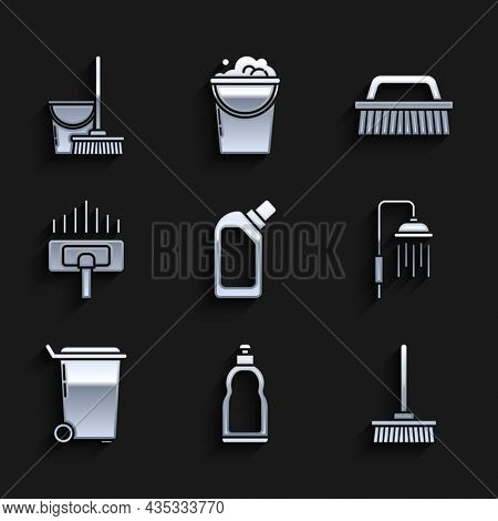 Set Plastic Bottles For Liquid Dishwashing Liquid, Mop, Shower Head With Water Drops Flowing, Trash