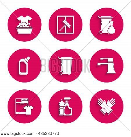 Set Trash Can, Plastic Bottles For Liquid Dishwashing Liquid, Rubber Gloves, Water Tap, Washer And T