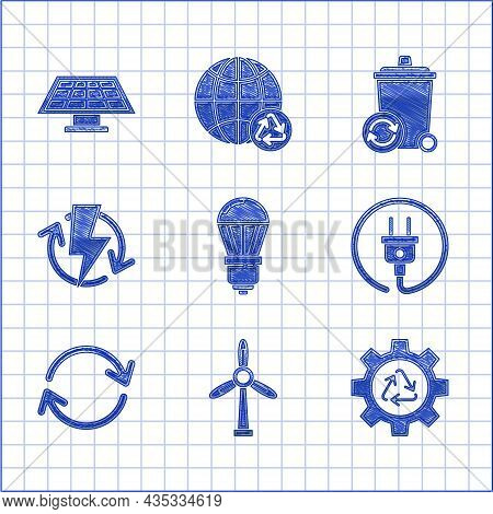 Set Led Light Bulb, Wind Turbine, Recycle Symbol And Gear, Electric Plug, Refresh, Recharging, With