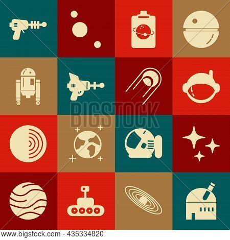 Set Astronomical Observatory, Falling Star, Astronaut Helmet, Planet, Ray Gun, Robot, And Satellite