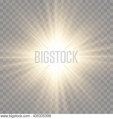 Star Burst With Light, Yellow Sun Rays.
