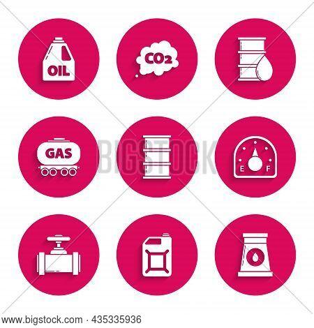 Set Barrel Oil, Canister For Gasoline, Oil And Industrial Factory Building, Motor Gauge, Industry Me