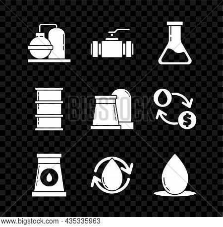Set Oil And Gas Industrial Factory Building, Industry Metallic Pipes Valve, Test Tube Flask, Drop, B