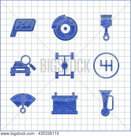 Set Chassis Car, Car Battery, Signal Horn On Vehicle, Gear Shifter, Speedometer, Search, Engine Pist
