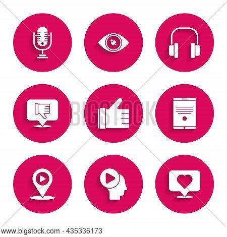Set Hand Like, Head People With Play Button, Like Heart, Tablet, Digital Media Location, Dislike In