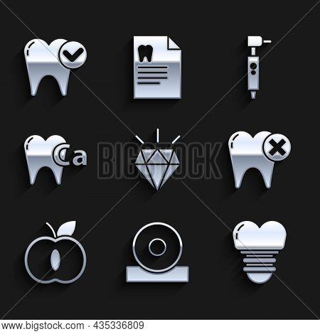 Set Diamond Teeth, Otolaryngological Head Reflector, Dental Implant, Tooth With Caries, Apple, Calci