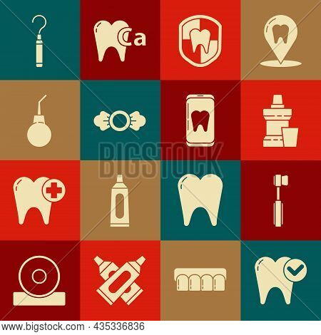 Set Tooth Whitening Concept, Toothbrush, Mouthwash Plastic Bottle, Dental Protection, Candy, Enema P