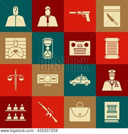 Set Law Book, Police Officer, Decree, Paper, Parchment, Scroll, Pistol Or Gun With Silencer, Old Hou
