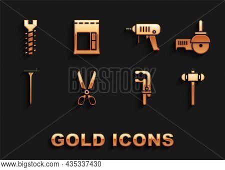 Set Scissors, Angle Grinder, Sledgehammer, Clamp Tool, Metallic Nail, Electric Drill Machine, Screw