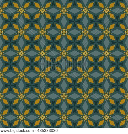 Seamless Floral Abstract Pattern. Vector Gold, Teal, Yellow Background. Geometric Leaf Ornament. Del