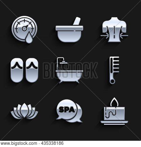 Set Bathtub, Spa Salon, Aroma Candle, Hairbrush, Lotus Flower, Flip Flops, Massage And Sauna Thermom